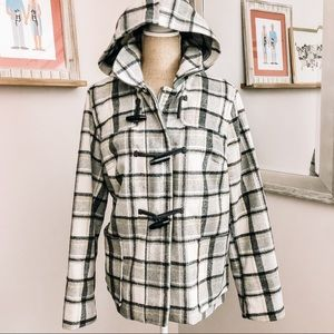 OLD NAVY Gray & Yellow Plaid Wool Toggle Pea Coat